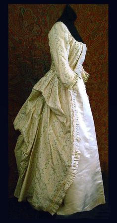 French silk robe a la polonaise, c.1790, from the Vintaqe Textile archives.