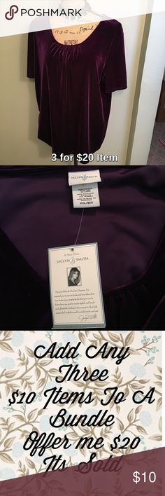 Jaclyn Smith Purple Velvet Top Sale! Price is firm unless 3 for $20 bundled. Pretty velvet top with scrunching at neckline. Great top for going out, paired with dark jeans, booties and a black blazer. Jaclyn Smith Tops Blouses