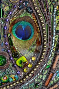 Details from ~ Mosaic peaccok mirror - Real peacock feather inlays, 71x54 cm | Flickr - Photo Sharing!