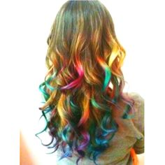Rainbow hair <3 i'm pretty done with dieing my hair crazy colors but HOW can you not LOVE THIS???