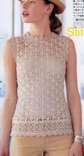 Crochet y Bebê: Crocheted Sleeveless Tunic - free crochet pattern diagram