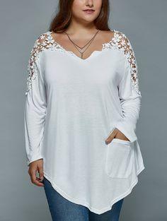 Plus Size Lace Splicing Asymmetric T Shirt