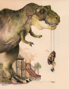 Dino and Little Girl by Gillian Newland $22 for 11x17, $12 for 8.5 x 11