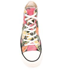 Converse Floral Print High-Top Sneakers ($134) ❤ liked on Polyvore featuring shoes, sneakers, floral sneakers, colorful shoes, multi color shoes, floral shoes and multi colored sneakers