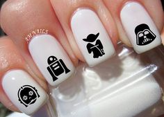 78 Star Wars Nail Decals from AMstickers on Etsy. Shop more products from AMstickers on Etsy on Wanelo. Uñas Star Wars, Star Wars Nails, Disney Princess Nails, Disney Nails, Nail Art Stickers, Nail Decals, Red Nails, Hair And Nails, Doctor Who Nails