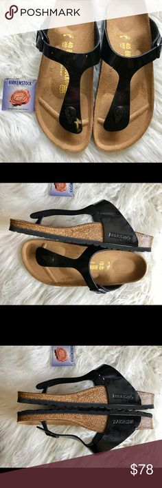 BNWT Birkenstock Patent Black Gizeh 40 N Brand new with tags and box. Box might not be in perfect shape due to handling.  Size 40 Narrow width  No returns so please know your size in Birks before ordering. I can only guarantee I will be sending the European size stated on the listing. All items are inspected throughly before shipment.  Price is Firm  Thanks Birkenstock Shoes Sandals