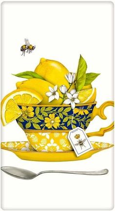 The true workhorse of any kitchen; the flour sack dish towel. Designed by Mary Lake Thompson, featuring a cheerful lemony tea cup!