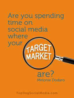 Are you spending time on social media where your TARGET MARKET are? ~melonie Dodaro TopDogSocialMedia.com