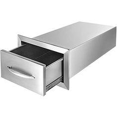Mophorn Tiroir de cuisine d'extérieur double accès en acier inoxydable pour barbecue avec poignée chromée 14 x 8.5 x 23 Inch Access Drawer