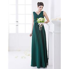 In blue-greens. A-line V-neck Floor-length Chiffon And Stretch Satin Bridesmaid Dress (663668) – USD $ 129.99