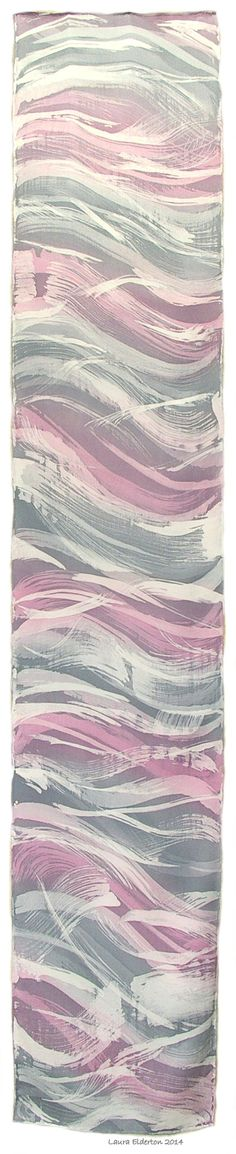 Hand Dyed Charmeuse Silk Scarf by Laura Elderton Abstract Dusty Waves in Pink and Gray (11x60) www.etsy.com/shop/lauraelderton