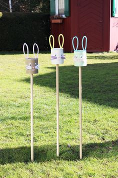 s & # s craft box: {DIY} simple Easter decoration: rabbit plugs from tin cans - Best Garden Decoration Trends Diy Osterschmuck, Diy Easter Decorations, Garden Decorations, Cotton Box, Diy Simple, Most Beautiful Gardens, Craft Box, Diy Box, Spring Crafts