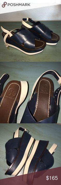 Tory Burch Bleeker Sandal New without tags- never worn. Sold out online. Navy blue, cream slingbacks. All details in pics! No low balls please 👍z #1035 Tory Burch Shoes Sandals