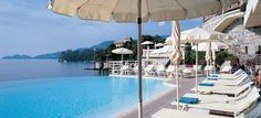 View of the Mediterranean from the Excelsior Palace Hotel pool deck (Rapallo, Italy)