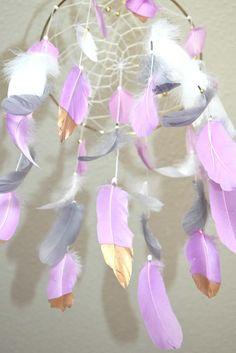 Dream Catcher Baby Nursery Mobile Lilac Gray White Tribal
