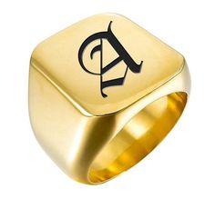 ea365fdd1f1c Del anillo de Signet - grabado del anillo de Signet - anillo de sello  personalizado - oro acero inoxidable - Laser grabado inicial - anillo rosa