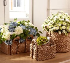 Love the texture of these baskets and of course the flowers.