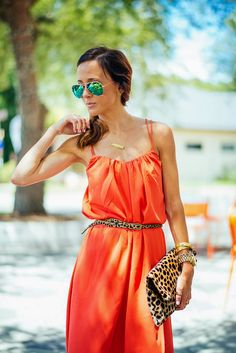 Coral is a must-have color for spring! Stand out in a bold maxi with leopard print accessories for a casual cool day look.