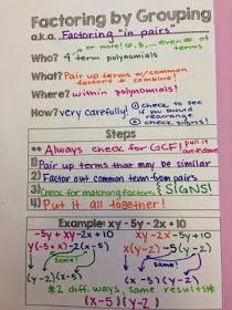 The Secondary Classroom can be fun too.....: Additional Methods of Factoring - Guided Notes