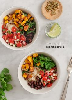 Avocado Crema / Butternut Squash Burrito Bowls - filled with black beans, pico de gallo, kale and avocado, these bowls are a healthy & hearty dinner or lunch. Easy Vegetarian Dinner, Vegetarian Recipes, Healthy Recipes, Vegetarian Burrito, Veggie Dinner, Mexican Food Recipes, Whole Food Recipes, Cooking Recipes, Mexican Desserts
