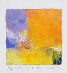 Il s'agit d'une peinture à l'huile abstraite par Hiroshi Matsumoto Titre: 22 avril 2018 Taille: 9,0 cm x 9,0 cm (environ 4 x 4) Toile taille: 14,0 cm x 14,0 cm (env. 5,5 x 5,5) Technique: Huile sur toile Année: 2018 Peinture est feutré en écru pour s'adapter à cadre standard 8