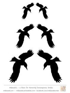 Crow Silhouette Template Collection, Free Printable Bird Silhoutte Stencils at www.milliande-printables.com  LOVE IT !!! Lace Stencil, Stencil Font, Stencil Patterns, Crow Silhouette, Silhouette Clip Art, Kirigami, Stencils, Crow Bird, Raven Art
