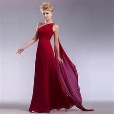 ... vestido de noche largo Aline de la gasa un hombro vestido de noche