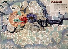 """This map of London districts, was intended to be used as a grand """"masterplan"""" of how a post-WW2 London could look. Each district appears as a simplified """"blob"""" with rounded edges – many districts are simple ovals. Specific single """"University"""", """"Government"""", """"Press"""" and """"Law"""" districts are all defined. Blue dots mark out the main shopping streets, with town halls marked with larger red dots."""