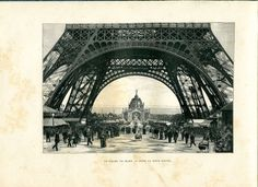 1890 Engraving of Champ de Mars and the Eiffel Tower,  Exposition Universelle 1889, Paris Exposition