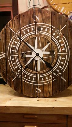 Nautical 32 inch Wooden Wire Spool Clock / Housewarming Gift/ Rustic Wall Clock / Wall Decor/ Compass Clock - The wall clock Wall Decor Design, Wooden Wall Decor, Rustic Wall Clocks, Wood Clocks, Rustic Walls, Wooden Walls, Clock Wall, Wooden Spool Tables, Cable Spool Tables