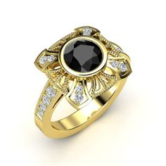 The Sansa Ring customized in black diamond, diamond and yellow gold