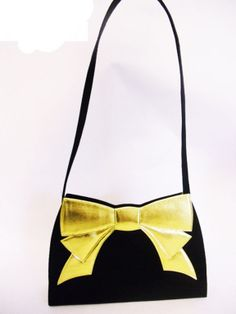 photos of retro purses with bows   Nina Ricci Vintage peau de soie Evening Bag with Gold Bow SALE image 8