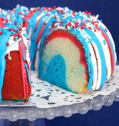 Recipe for Firecracker Bundt Cake - My Firecracker Bundt Cake is fun to make and will have everyone wondering how you got all the colors in there.