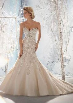 View Dress - Mori Lee Bridal FALL 2013 Collection: 1953 - Beaded, Raised Embroidery on Net with Taffeta Empire   MoriLee Bridal   Bridal Shops Toronto Wedding   Evening Dresses Bridal Gowns