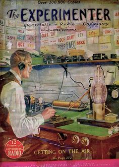 """Experimenter Amateur radio operator in classic """"shack"""" pounding away at his straight key. Above him are a shelf fulled with spare parts, and walls covered with QSL cards from all over the U. Radios, Vintage Ads, Vintage Posters, Radio Amateur, Ham Radio Antenna, Radio Wave, Old Time Radio, Antique Radio, Short Waves"""