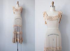 1930s Sheer Ruffled Wedding Gown