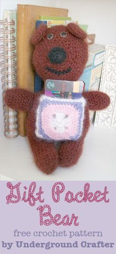Gift Pocket Bear, free crochet pattern by Underground Crafter