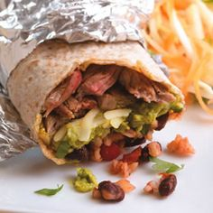 Try this big bold burrito recipe with a fraction of the calories of Taco Bell and Chipotle! #mexican #healthytakeout