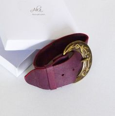 Unique leather gift for women and girls, bohemian from genuine soft with care and love. I used a bronze vintage belt buckle and purpelish burgundy leather. Gifts For Women, Unique Gifts For Her, Perfect Gift For Her, Leather Gifts, Leather Jewelry, Vintage Belt Buckles, Purple Jewelry, Silver Jewelry, Bohemian Bracelets