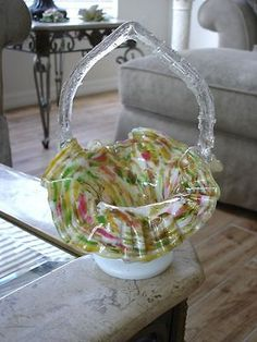 Victorian Antique Art Glass Webb or Stevens and Williams Handled Basket