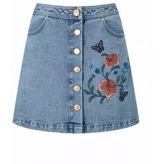 Kelly Embroidered Button Down Denim Mini Skirt Shop Elettra (261065 PYG) ❤ liked on Polyvore featuring skirts, mini skirts, a line mini skirt, short denim skirts, a-line skirt, mini skirt and blue mini skirt