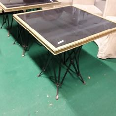 Lot 2220 (5 available) Square marble top brass rimmed tables on metal bases  Low Estimate: €80 High Estimate: €120