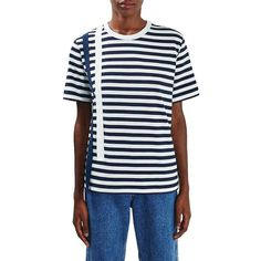 Women's Topshop Boutique Taped Stripe Tee ($68) ❤ liked on Polyvore featuring tops, t-shirts, navy blue multi, striped t shirt, navy blue tee, stripe tee, striped tees and stripe t shirt
