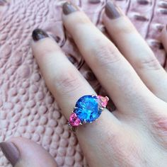 6.88 carat Sapphire and Pink Spinel ring  #rotd #sapphire #ring