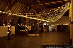 A fan canopy at Ufton Court. Beautiful wedding fairy lights by Oakwood Events!