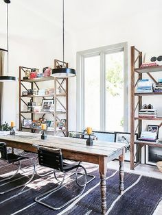 Vanessa Alexander Malibu Home. Modern, industrial home office with wood shelves, farm table, modern chairs, pendant lighting. Dining Room Images, Dining Room Design, Modern Spaces, Mid-century Modern, Eclectic Modern, Modern Industrial, Home Office Design, House Design, Modern Farmhouse