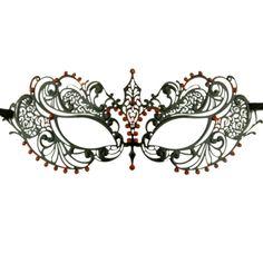 19d9de93d Details about Laser Cut Metal Venetian Pretty Masquerade Mask w  Red  Rhinestones Mardi Gras
