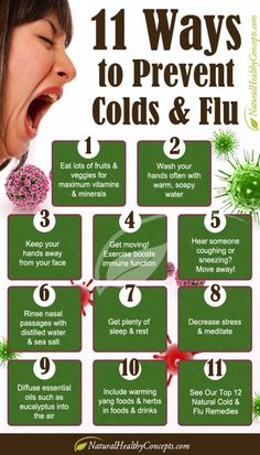 11 Ways to Prevent Colds & Flu   INFOGRAPHIC Flu Remedies, Health Remedies, Home Remedies, Natural Remedies, Healthy Tips, How To Stay Healthy, Healthy Facts, Healthy Food, Health And Wellness