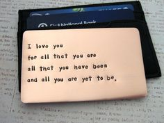 A love note he'll see over and over ! Copper Wallet Insert Card Anniversary Gift for Men by RameWorks
