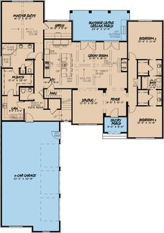 European Style House Plan - 3 Beds 2.5 Baths 2532 Sq/Ft Plan #923-7 Floor Plan - Main Floor Plan - Houseplans.com